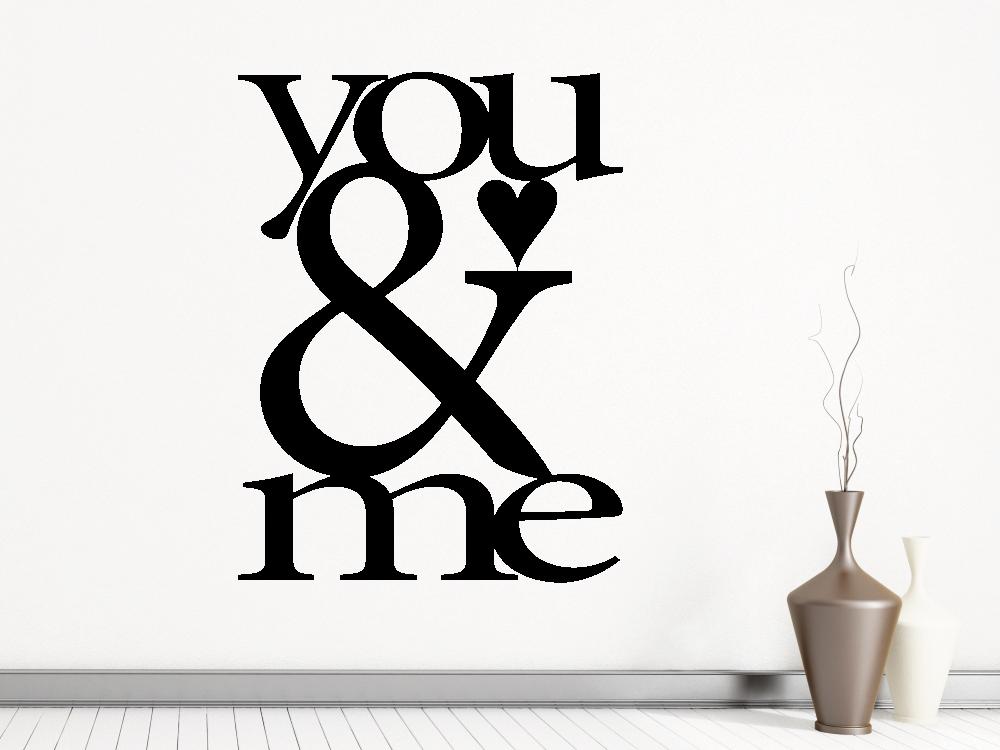 Samolepky na zeď - You and Me nápis - Textová Samolepka na zeď