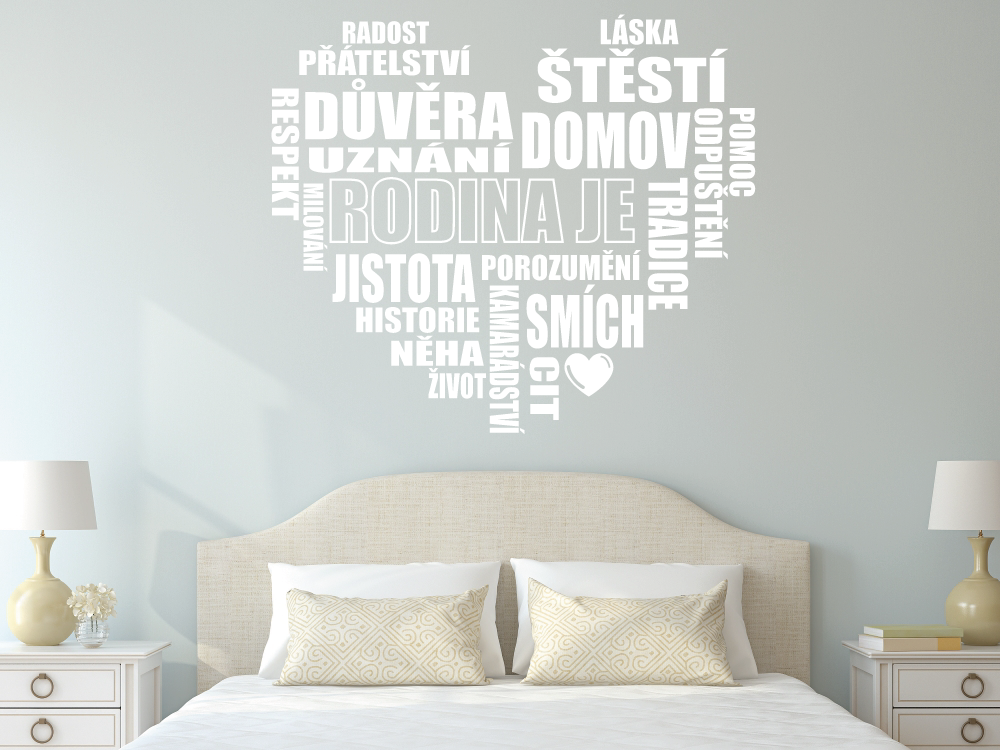 Samolepky na zeď - Srdce - Rodina je - Textová Samolepka na zeď