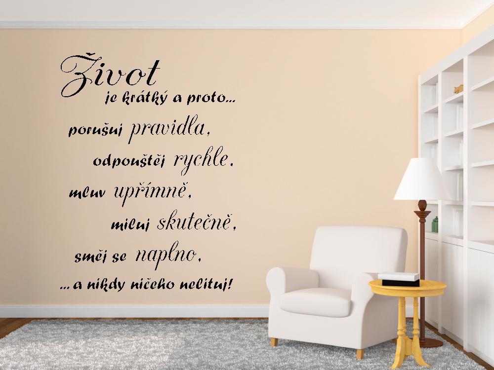 Samolepky na zeď - Život je krátký 2 - Textová Samolepka na zeď