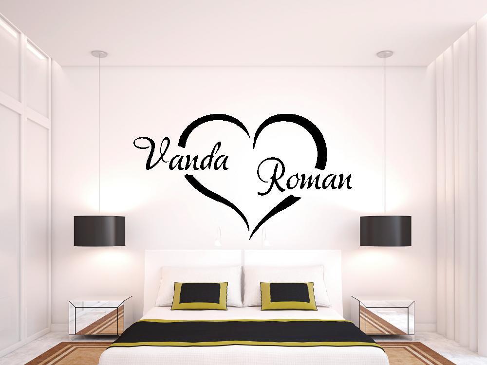 Samolepky na zeď - Zamilované srdce s vašimi jmény - Samolepka na zeď