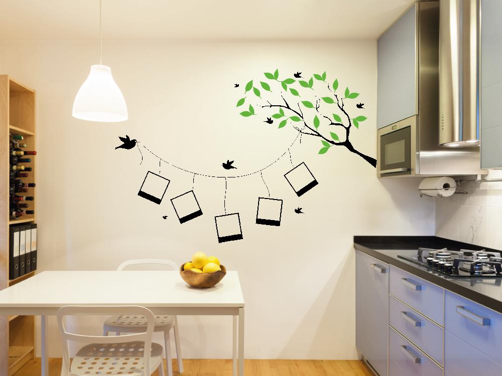 Samolepky na zeď - Větev s rámečky - Samolepka na zeď