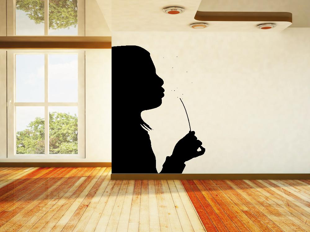 Samolepky na zeď - Dívka s pampeliškou - Samolepka na zeď
