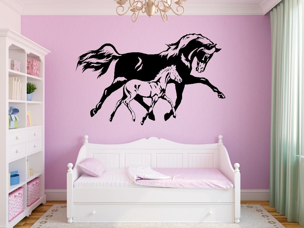 Samolepky na zeď - Koně - Kobyla a hříbě - Samolepka na zeď