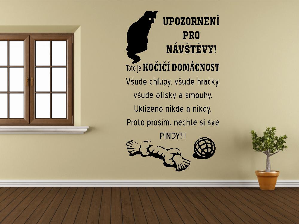 Samolepky na zeď - Pozor - Kočičí domácnost - Samolepka na zeď