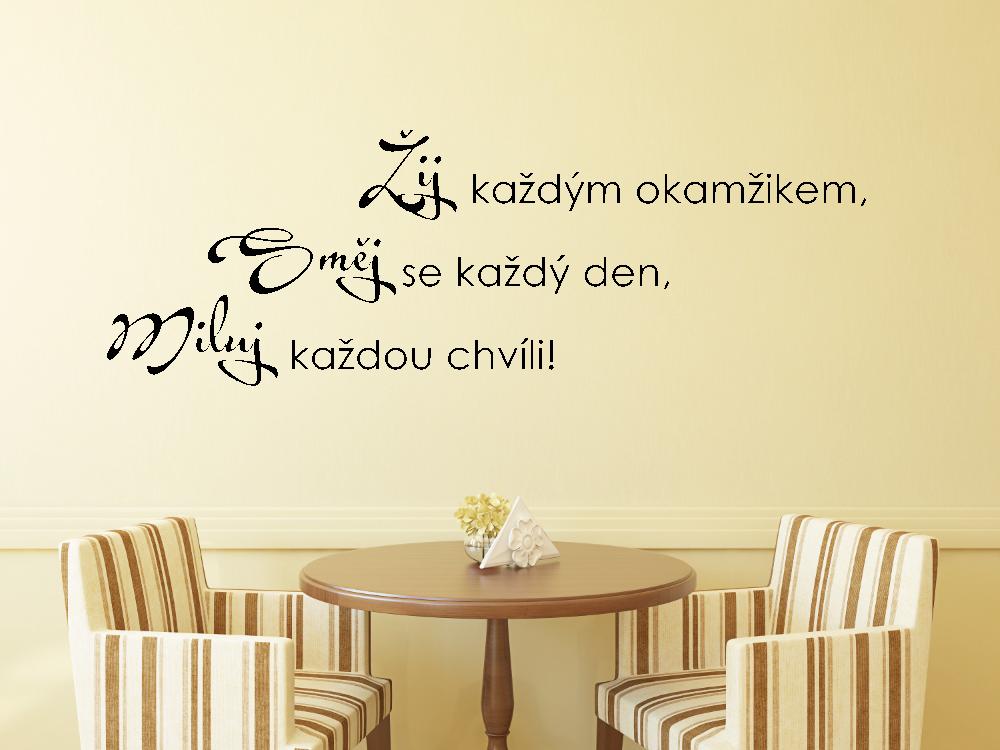 Samolepky na zeď - Žij Směj Miluj - Samolepka na zeď
