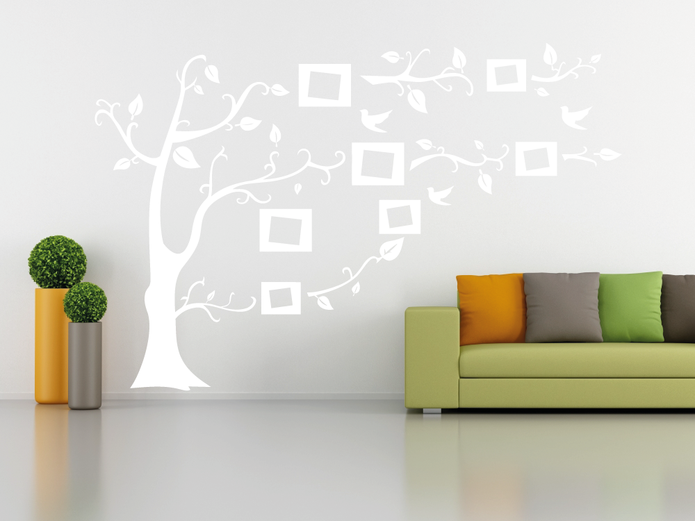 Samolepky na zeď - Strom s rámečky na fotografie - Samolepka na zeď