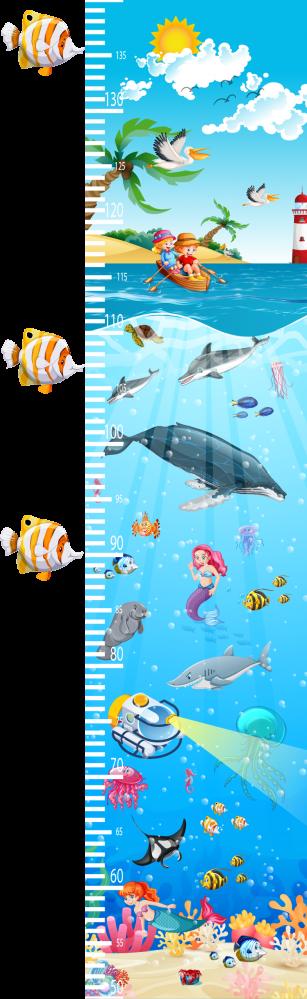 Dětské barevné metry - Dětský nástěnný metr - Oceán