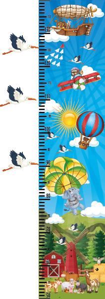Dětské barevné metry - Dětský nástěnný metr - Nebe