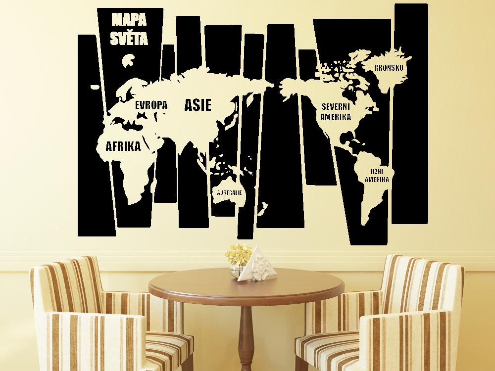 Samolepky na zeď - Mapa světa na dlaždicích - Samolepka na zeď