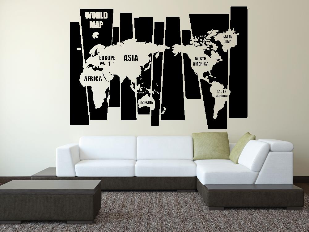 Samolepky na zeď - Mapa světa na dlaždicích EN- Samolepka na zeď