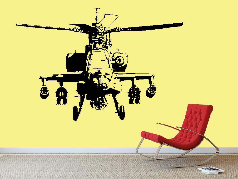 Samolepky na zeď - Vrtulník Apache - Samolepka na zeď