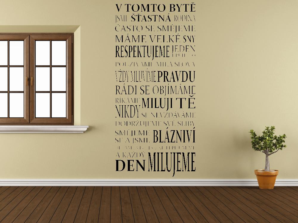 Samolepky na zeď - V tomto bytě - Samolepka na zeď