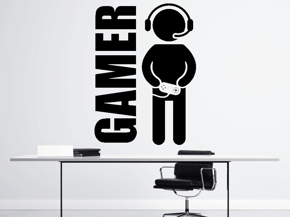Samolepky na zeď - Gamer - vlastní text - Samolepka na zeď