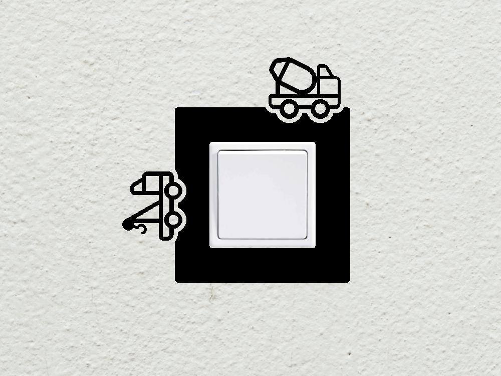 Samolepky na zeď - Auta vypínač - zásuvka - Samolepka na zeď