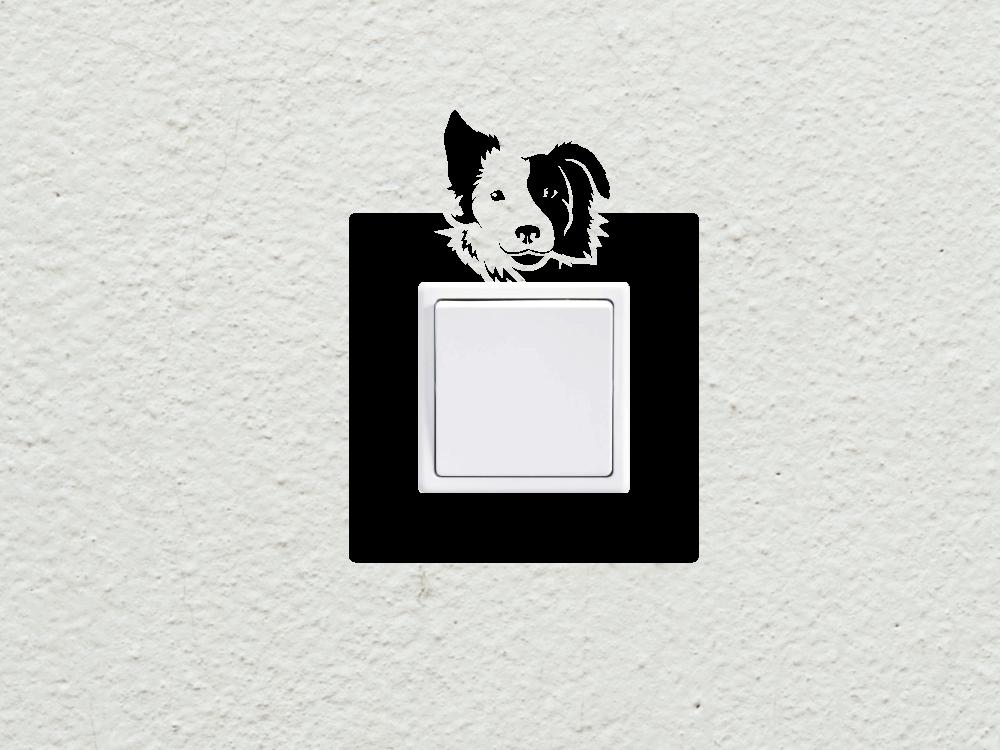 Samolepky na zeď - Pes vypínač - zásuvka - Samolepka na zeď